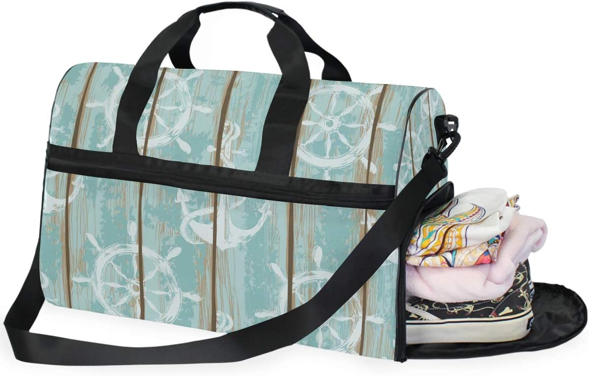 FAJRO Gym Bag Travel Duffel Express Weekender Bag Boards Of Ship Deck Seamless Pattern Carry On Luggage with Shoe Pouch