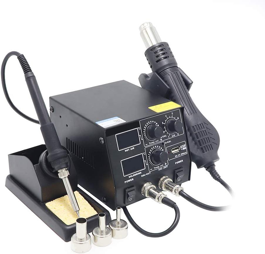 Inteligente 3 en 1 Estación de soldadura anti-estático de aire caliente digital doble, estación de soldadura pistola de aire caliente de carga USB del teléfono móvil