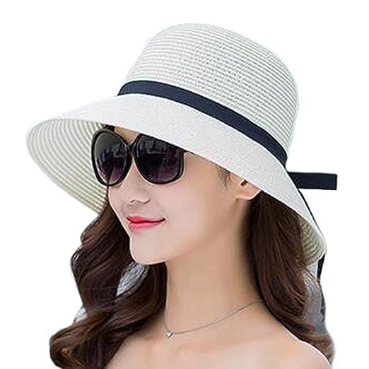 6ea489d32 Itopfox Women's Floppy Straw Sunhat Bowknot Sun Protective UPF50+ Wide Brim  Fedora, Milky, Free Size(Circumference 22
