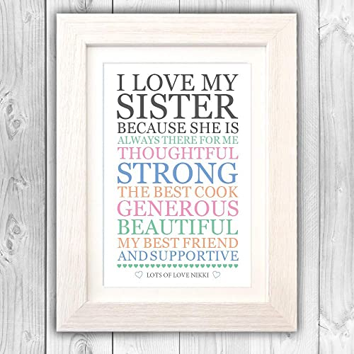 Personalised Sister Love List Present Birthday For Sis Unique