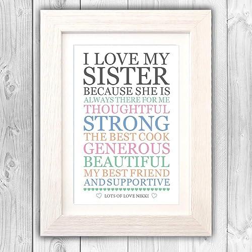 Personalised Sister Love List Present Birthday For Sis Unique Gift VA092 Amazoncouk Handmade