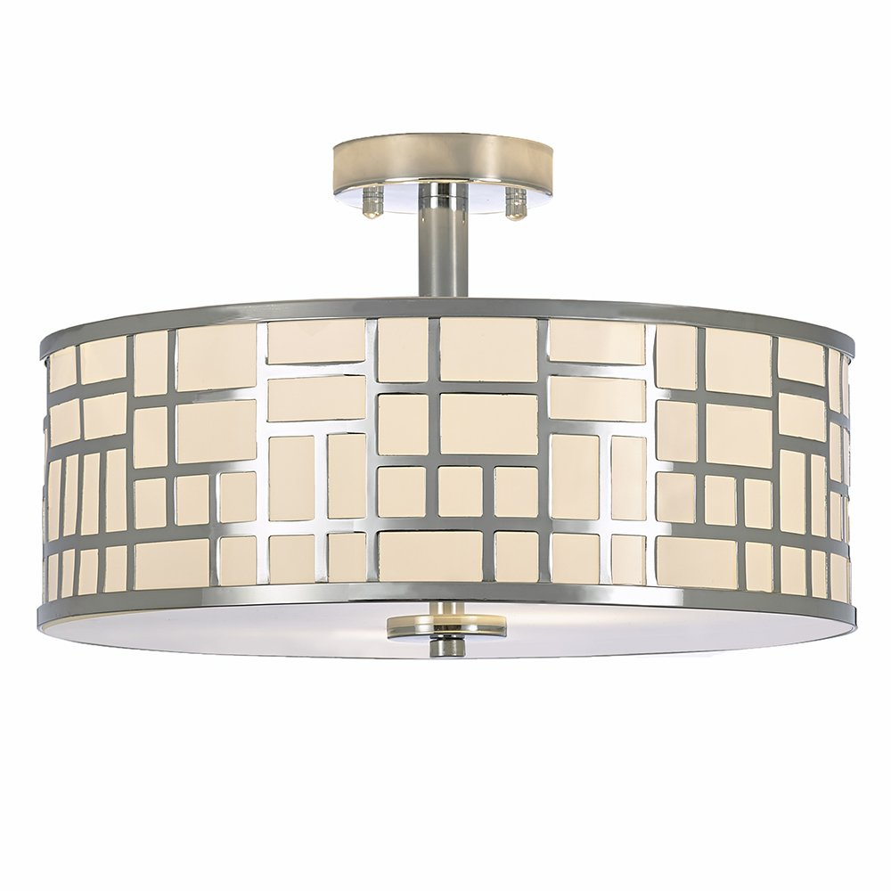 Ceiling Lighting For Kitchen Dining Room Bedroom FD006CH-2-POP POPILION 16 Inch Modern Design Metal Chrome Finish Flush Mount Ceiling Light