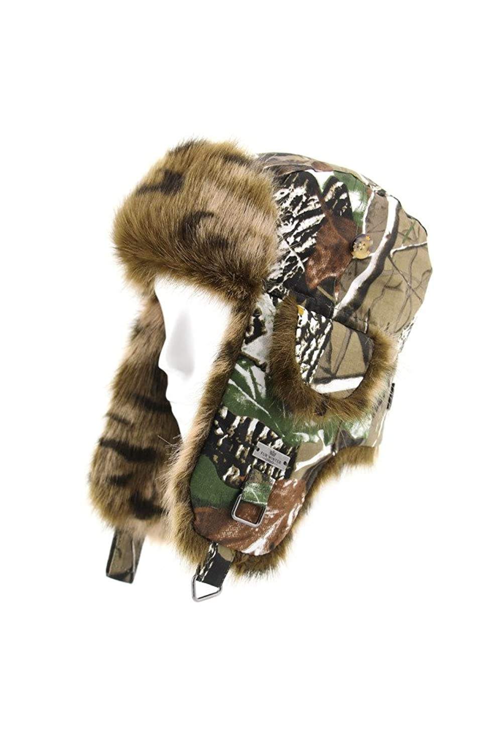 Fell Winter Baumwolle Camouflage Camo Webpelz Bomber Trapper Trooper Snowboard Pilot Ski Jagd Hat