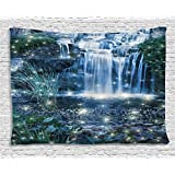 Waterfall Tapestry Wall Hanging by Ambesonne, Fairy Fantastic Cascade at Night with Sparkling Light on the Water Fresh Landscape, Bedroom Living Room Dorm Decor, 80WX60L Inches, Grey Green