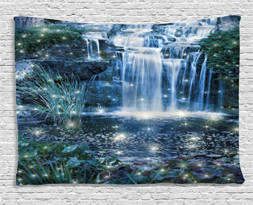 Hanging Cascade - Ambesonne Waterfall Tapestry Wall Hanging, Fairy Fantastic Cascade at Night with Reflections of The Beams on The Water Fresh Landscape, Bedroom Living Room Dorm Decor, 80 W X 60 L, Grey Green