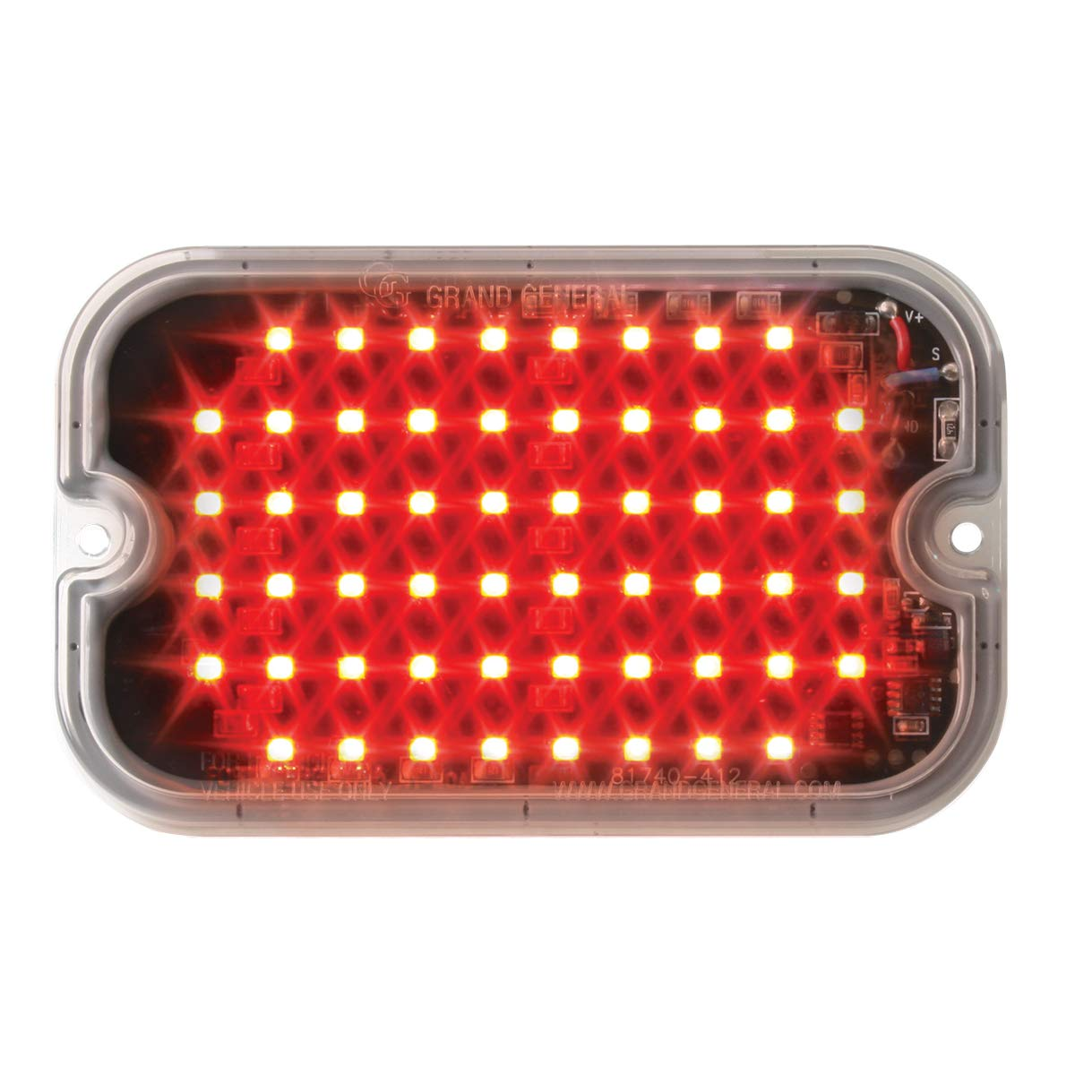 GG Grand General 81743 LED Light (Rectangle Red/Clear Multi-Strobe 56, 15 Flash Pattern)