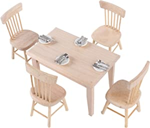 Haomian 5 Pcs Dollhouse Dining Table Set 1:12 Dollhouse Miniature Furniture Wooden Furniture Set Dining Table with Chair (Wood Color) with 16 Pcs Dollhouse Plates Knife Fork Spoon Tableware
