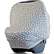 POPPY + BEAN Car Seat Cover for Babies - Multi-Use Canopy - Breastfeeding and Nursing Cover Scarf for Girls and Boys - Fits Strollers, Shopping Carts, Highchairs (Blush Hearts Pattern)