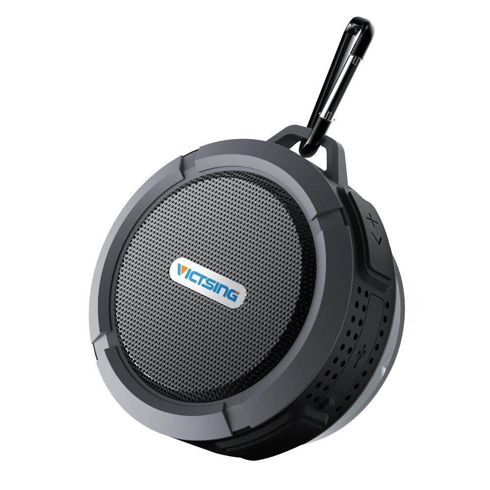 VicTsing Shower Speaker, Wireless Waterproof Speaker with 5W Driver, Suction Cup, Built-in Mic, Hands-Free Speakerphone - Grey