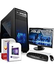 AMD Ryzen 3 3200G 4x4.0GHz Komplett PC-Paket Set mit 24 TFT - Monitor/Tastatur Maus | 16GB DDR4 |256GB M2 SSD und 1TB Festplatte | Win10 | WLAN | Gamer pc Computer komplettpaket Rechner Leise