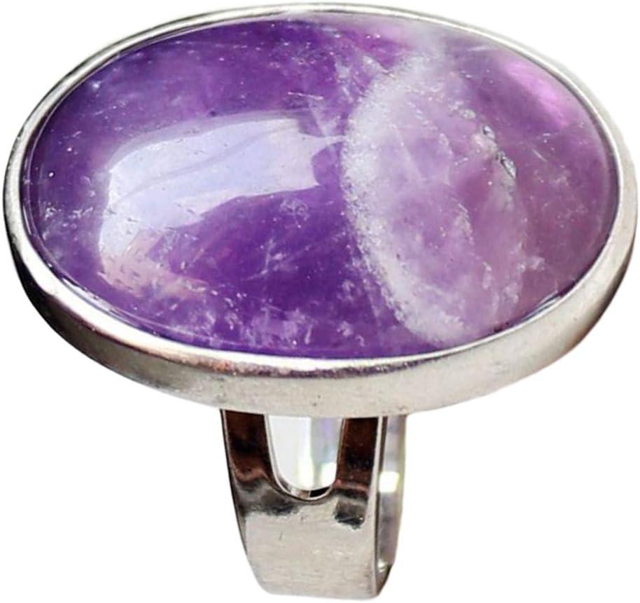 Joyería Ajustable De La Banda del Anillo De Dedo De La Boda De La Piedra Preciosa del óvalo Cristalino Natural - Púrpura