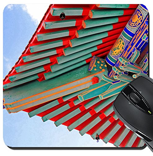 MSD Suqare Mousepad 8x8 Inch Mouse Pads/Mat design 20174703 A part of the roof of Chinese temple in Bangkok - A Temple Parts Of