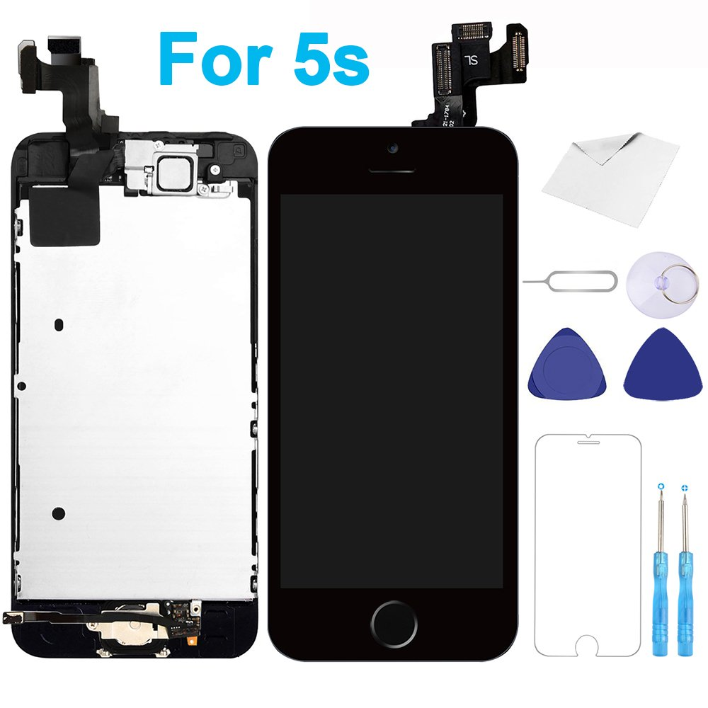 For iPhone 5s Screen Replacement Black - 4.0'' LCD Display Touch Digitizer Frame Assembly Full Repair Kit with Home Button Front Camera Proximity Sensor Ear Speaker Screen Protector Repair Tools