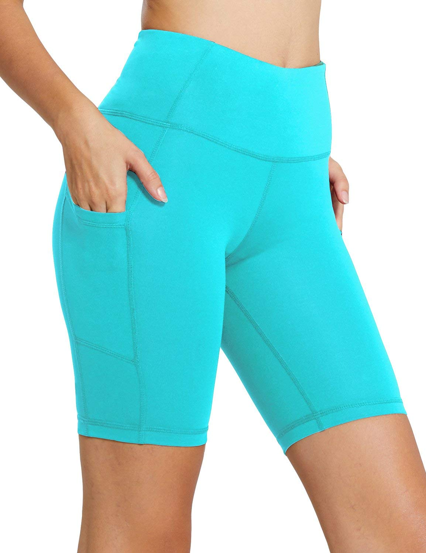 BALEAF Women's 8'' High Waist Workout Yoga Shorts Tummy Control Side Pockets Turquoise Size S by BALEAF