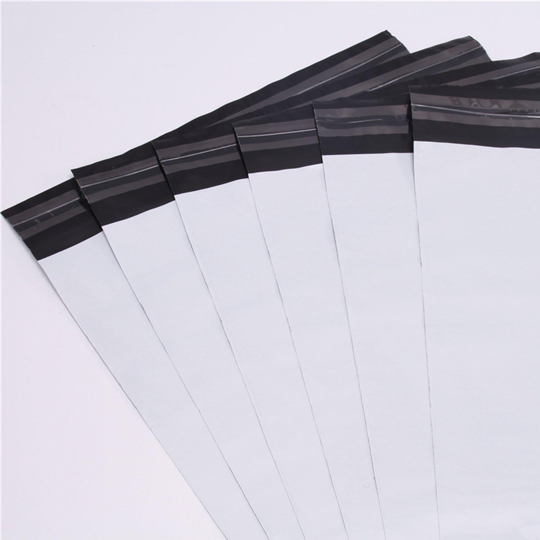 logei® 100 x Sacs d'expédition plastique Sac de Courrier Pochettes d'expédition Couleur blanc + noir , 25cm x 35cm
