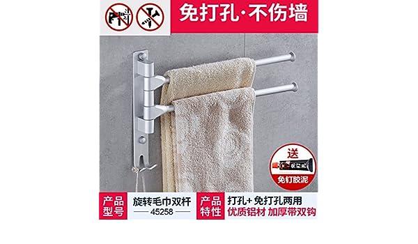 El cuarto de baño no necesita toallas perforado, varillas, espacio giratorio de aluminio toallas, duchas, toallas de baño, toallas de baño,2 bar: Amazon.es: ...