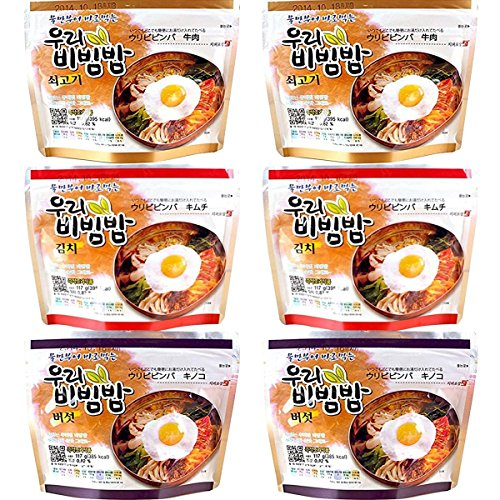 Price comparison product image MRE Meals Woori's Ready to Eat BEEF / KIMCHI / MUSHROOM Bibimbap Korean Mixed Rice Bowl 100g (3.53oz) 335 Kcal Instant Rice Emergency Rice Food (BEEF / KIMCHI / MUSHROOM,  TOTAL 6 PACK (EACH 2 PACK))