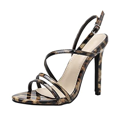 c8794b4eb35e Amazon.com  refulgence Women Round Toe Leopard Print Sandals High Thin Heel  Buckle Strap Shoes Summer Fashion  Clothing