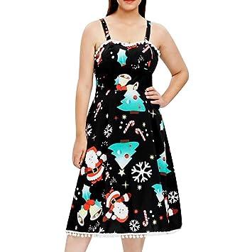 0395246b506 SMILEQ Dress Women Cami Ball Gown Merry Christmas Santa Claus Plus Size  Evening Party Xmas Dress