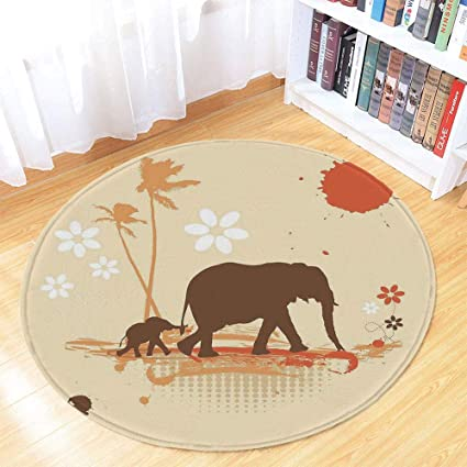 Elephant In Room That Needs To Be >> Amazon Com Tecbillion Elephant Short Fur Round Mat Mother And