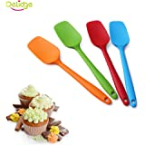 Delidge Silicone Spatula Set - 4-piece, Heat-Resistant Baking Spoon & Spatulas, Non-stick Rubber Dishwasher Safe Seamless Spatulas with Stainless Steel Core - Multicolor