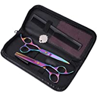 """Professional Pet Grooming Scissors Set, Stainless Steel Scissors 6"""" - Cutting Fur Thinning, Straight, Curved Shears with Combs - Perfect Trimmer Kit for Face, Ear, Nose, Paw - Sharp Scissor for Dog & (multicolor)"""