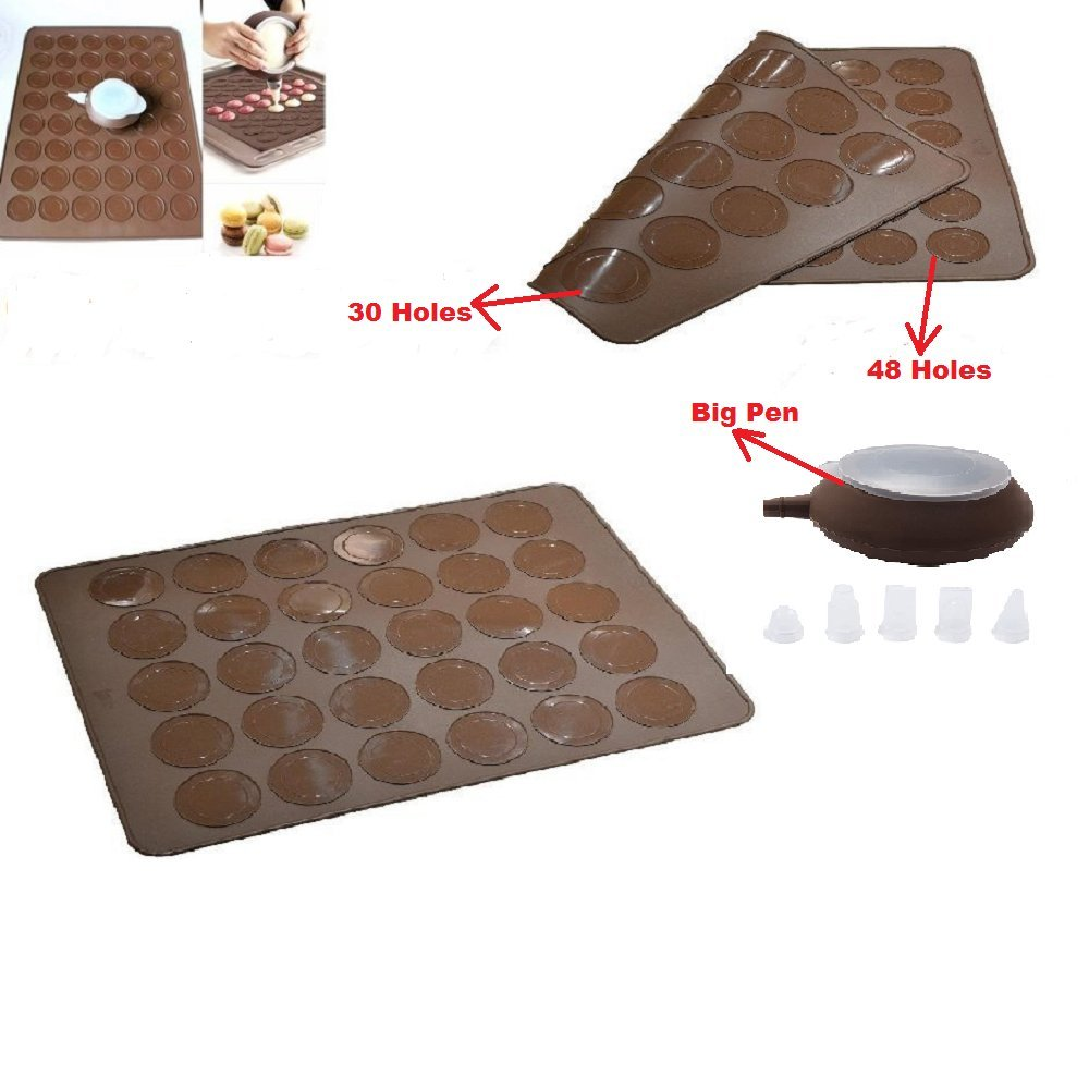 High Quality One Set of DOUBLE SIDED Macaron Mats Big Decoration Pens Four Nozzles Silicone 30/48 Capacities Kit by PJcake