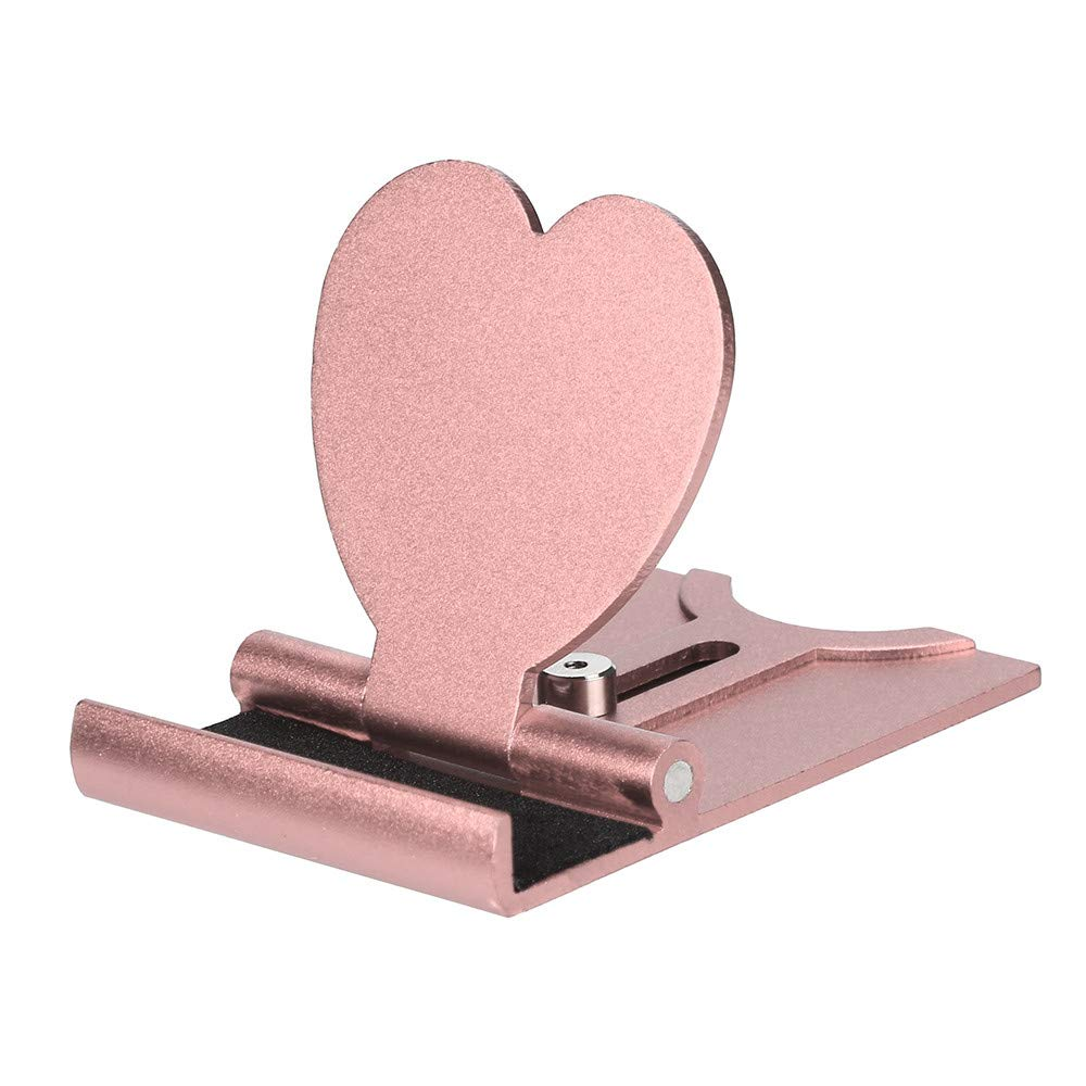 Universal Heart-shaped Cell Phone Stand, Tablets Holder, Choosebuy Adjustable Portable Metal Stents Mobile Phone Support Mount Bracket, Compatible for iPhone/Smartphones and Tablets (Pink)