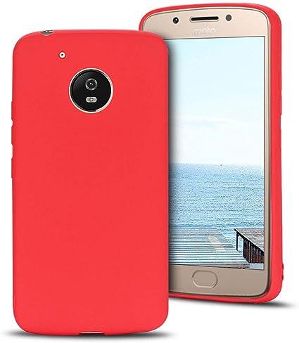 MOEVN Funda Moto G5 Silicona, Rojo Motorola G5 Carcasa Mate Case ...