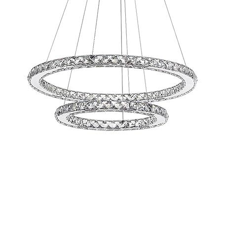 SAILUN® 63W LED Cristal Lámpara de Araña Moderna Lámpara Colgante, Dos anillos Lámpara de Techo Blanco Cálido Iluminación Interior (63W Blanco Cálido)
