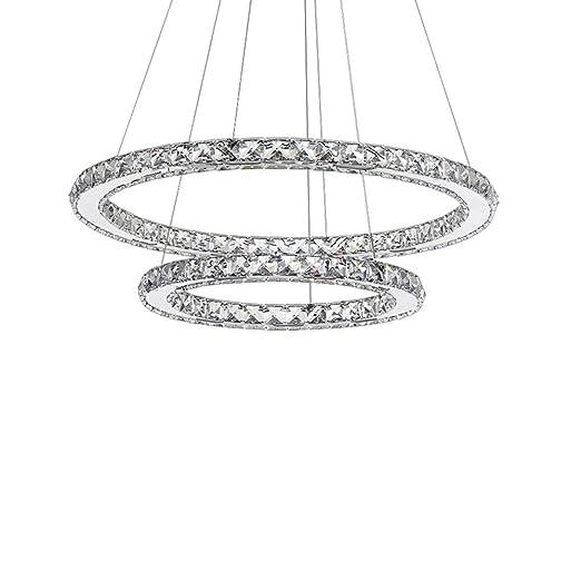 SAILUN® 48W LED Cristal Lámpara de Araña Moderna Lámpara Colgante, 2 anillos Lámpara de Techo Blanco Cálido Iluminación Interior (48W Blanco frío)