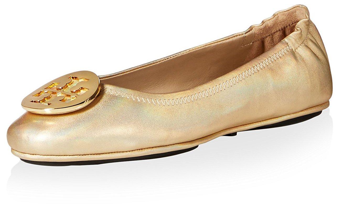 Tory Burch Women's Minnie Travel Ballet Logo Flat, Gold, 8.5 M US