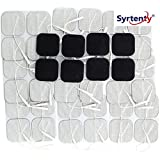 """Syrtenty 2"""" Square TENS Unit Electrodes 2x2 - 44 Pack Electrode Pads for TENS Massage EMS - 100% Satisfaction Guarantee"""