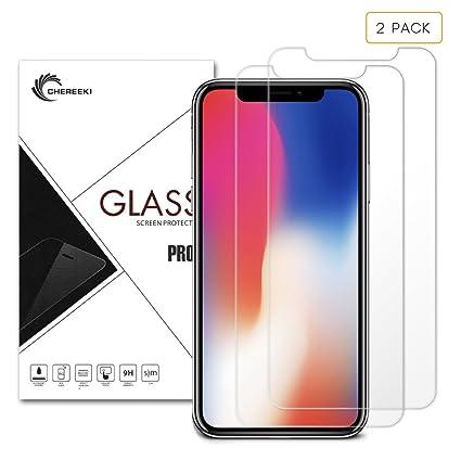 iPhone X Protector de pantalla, CHEREEKI 2-Pack Premium templado vidrio Protector de pantalla