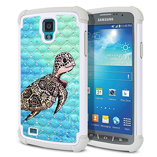 Samsung Galaxy S4 Active I537 I9295 Case, Fincibo (TM) Dual Layer Shock Proof Hybrid Hard Protector Cover Anti-Drop Silicone Star Studded Rhinestone Bling, Cute Turtle (Style 1) (Cases Galaxy S4 Samsung Active)