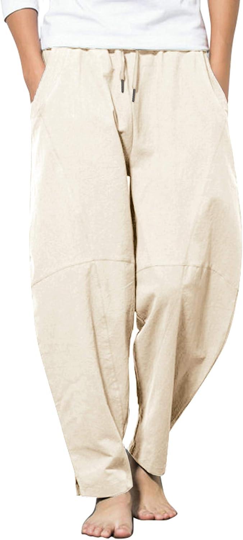COOFANDY Men's Linen Pants Casual Elastic Waist Drawstring Yoga Beach Trousers: Clothing