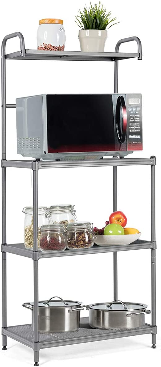 Giantex 4-Tier Kitchen Microwave Storage Rack Oven Stand Strong Mesh Wire Metal Shelves Free Standing Baker's Rack Shelving Utility Unit