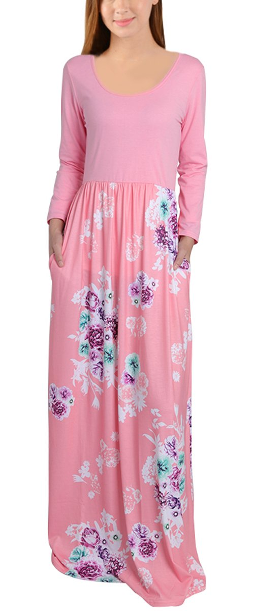 Leapparel Women 3/4 Sleeves Floral Maxi Dress Round Neck Floor-length Casual Long Dress With Pockets (M, Pink1)