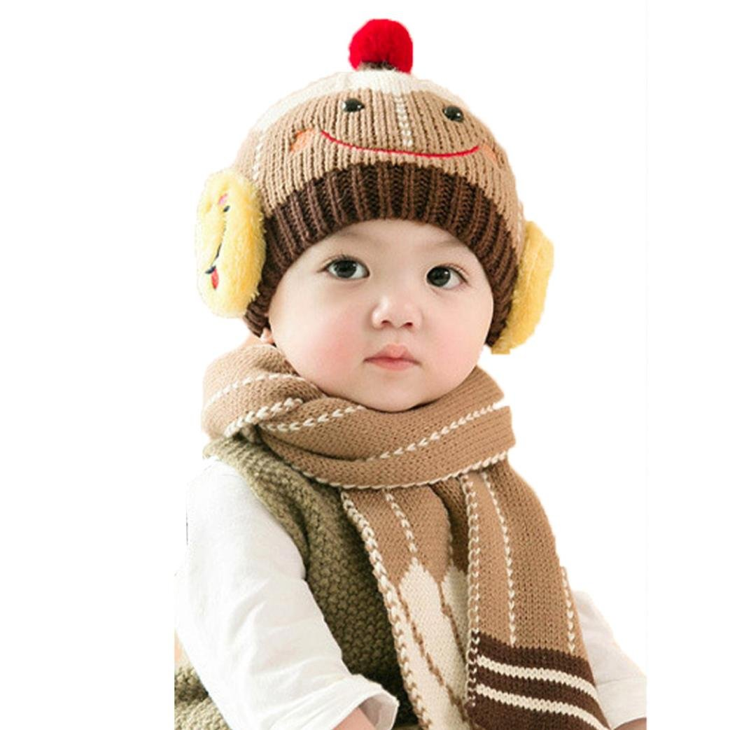 LNGRY Baby Cute Winter Kids Baby Hats Keep Warm Set Cute Hat Scarf