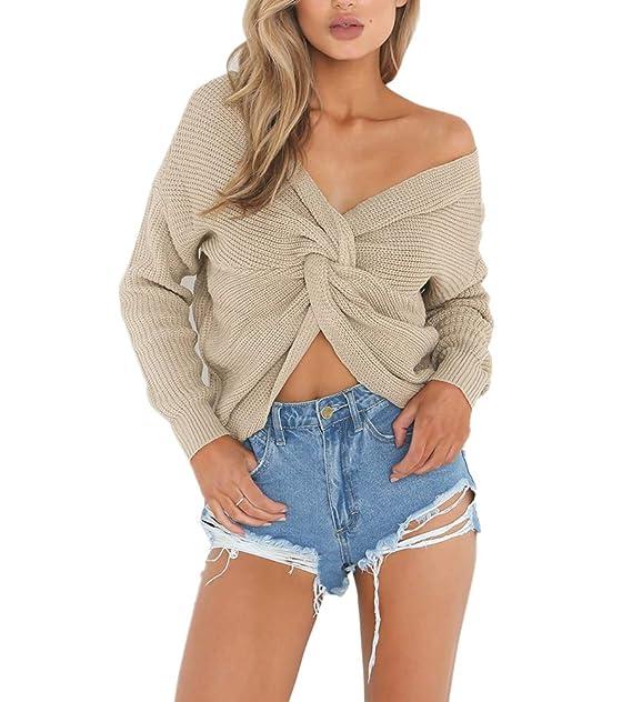 wenyujh Damen Pullover Strickpullover Herbst Sweatshirt Sweater V-Ausschnitt  Rückenfrei Knoten Langarm Pulli Oberteil ( 64617d16b5