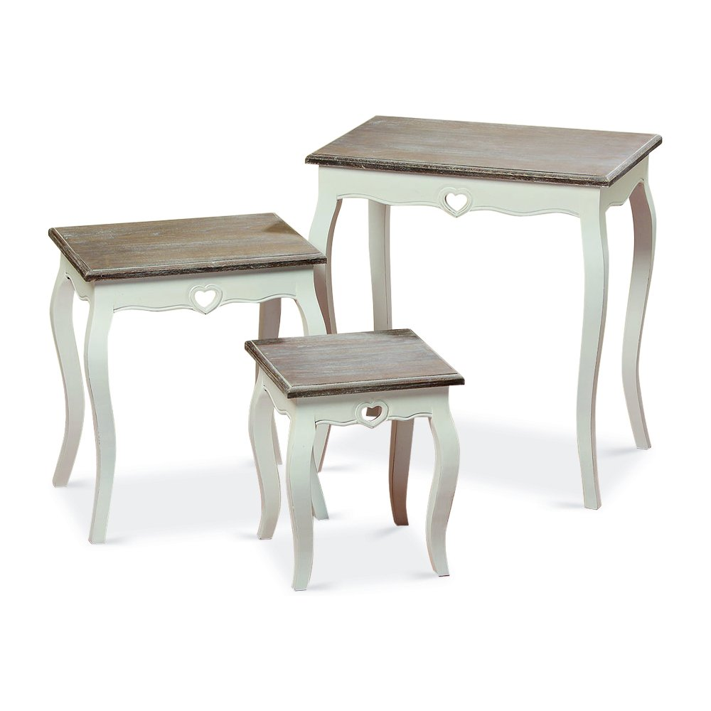 Whole House Worlds The French Country Style Side Tables, Set of 3, Nesting, Shabby Chic Distressed Finish, White, Wood, Dark Top, From Over 2 Ft Tall (25 1/2-12 1/2 Inches) By by Whole House Worlds