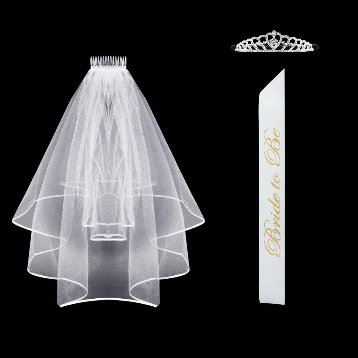 Bachelorette Party Bride To Be Sash Satin & Rhinestone Tiara Crown & Bridal Veil Girls Night Out Game … (Satin) by Supoice