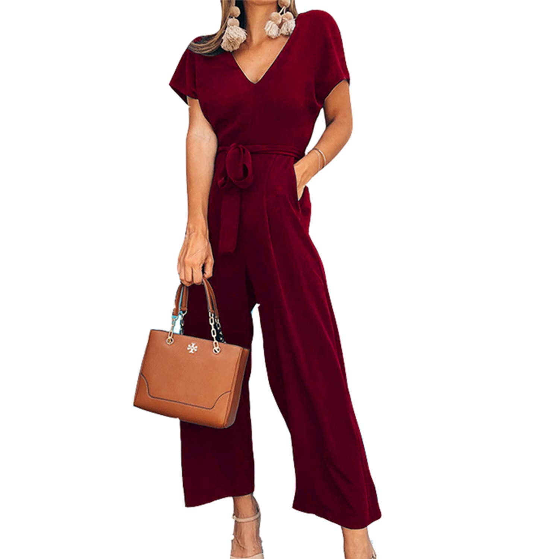 Anewsex Women Jumpsuit V-Neck Short Sleeve Pocket Rompers Work Office Overalls Wide Leg Pants