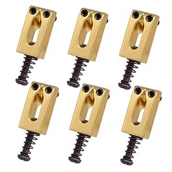 Sharplace 6pcs Piezas de Recambio Caballete de Aluminio con Palanca 5mm para Guitarra Eléctrica - Dorado: Amazon.es: Instrumentos musicales