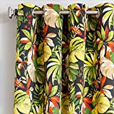 1pc 96 Black Outdoor Floral Gazebo Curtain, Indoor Patio Porch Entrance Door Grommet Ring Top Doorway Pergola Drapes, Green Flower Pattern Outside Window Treatment Single, Cabana Polyester