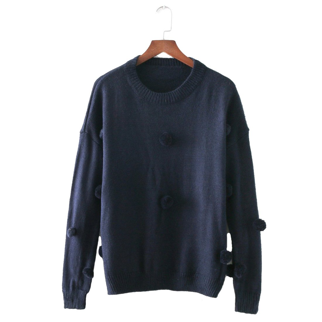 FARCOKO 2017 Winter Sweater Women Vintage American Style Loose Embroidery Ball O-Neck Women Sweaters Pullovers Women Tops (Navy Blue, m)