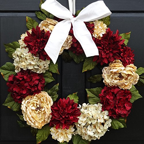 Large Valentines Day Wreath for Front Door Decor; Faux Hydrangea, Peony and Dahlia Mix; Burgundy Red and Cream; 24 Inch ()