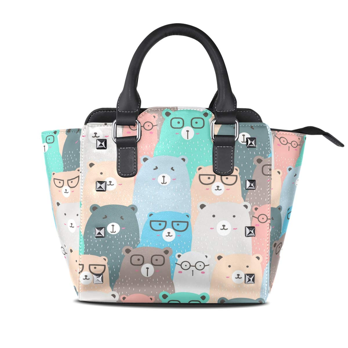 Design3 Handbag Beautiful Butterfly Genuine Leather Tote Rivet Bag Shoulder Strap Top Handle Women