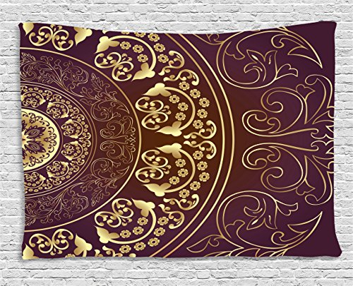 Floral Vintage Tapestry (Mandala Tapestry by Ambesonne, Vintage Ethnic Asian Spiritual Cosmos Pattern with Swirled Floral Leaves Artwork, Wall Hanging for Bedroom Living Room Dorm, 60 W X 40 L Inches, Burgundy Gold)