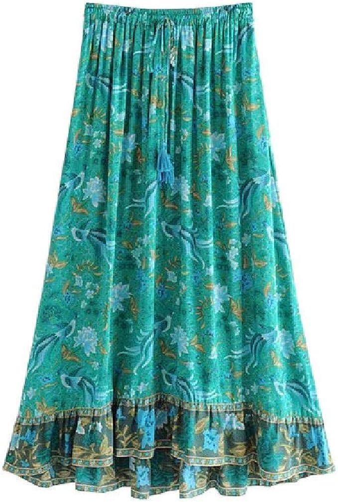 NO BRAND Boho Chic Summer Vintage Floral Bird Print Falda Larga ...